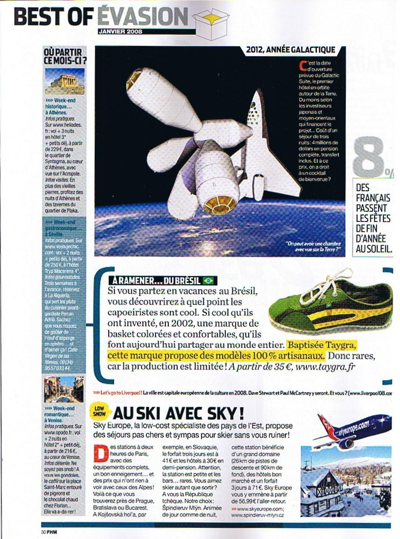 Page magazine FHM - article on shoes TAYGRA